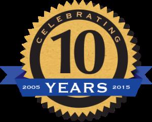 !0 year badge